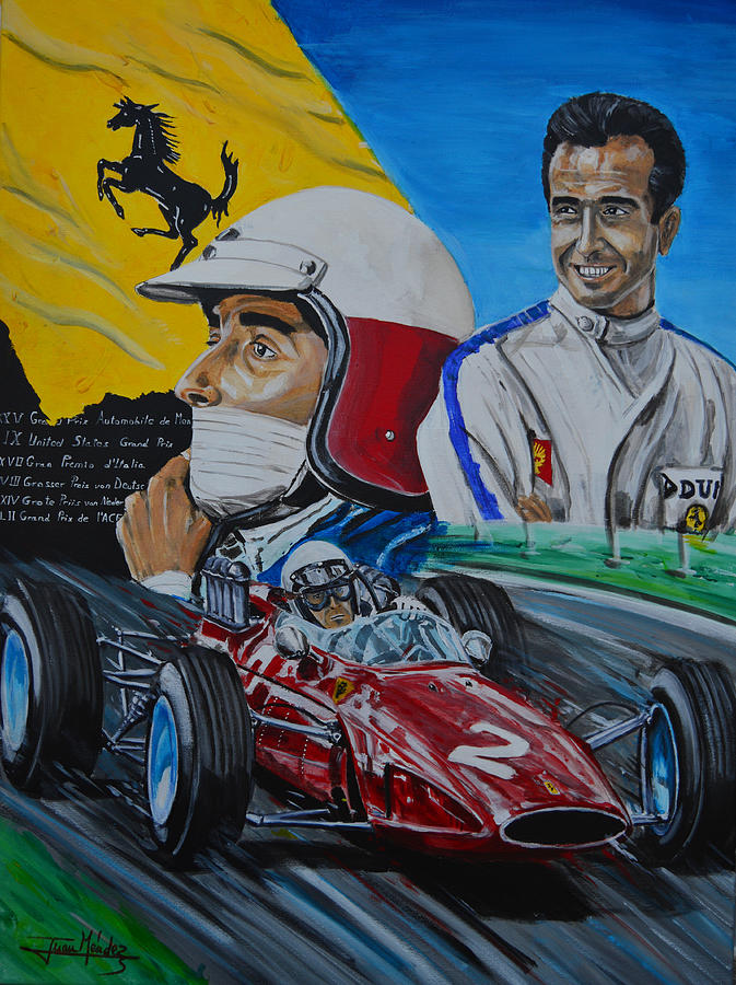 Lorenzo Bandini Painting - Lorenzo E Ferrari. La Passione Del Tifosi by Juan Mendez