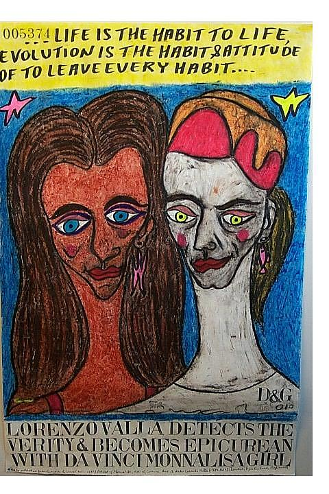 What Is Life? Pastel - Lorenzo Valla Detects The Verity And Becomes Epicurean With Da Vinci Monna Lisa Girl by Francesco Martin