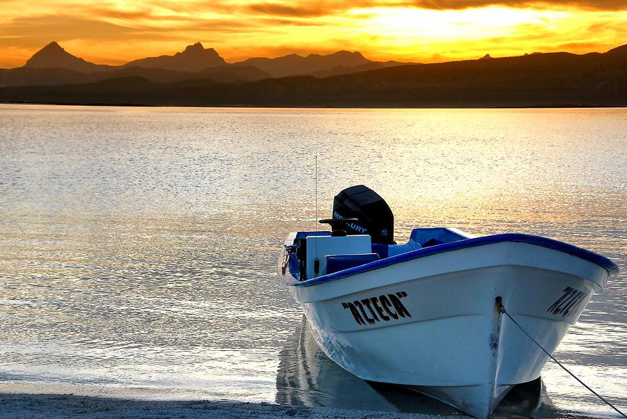 Baja California Photograph - Loreto Panga At Sunset by Scott Massey