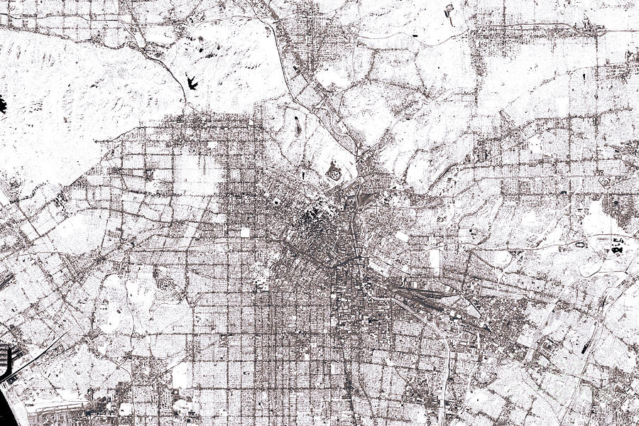 Los Angeles Abstract City Map Black And White Digital Art by Frank on