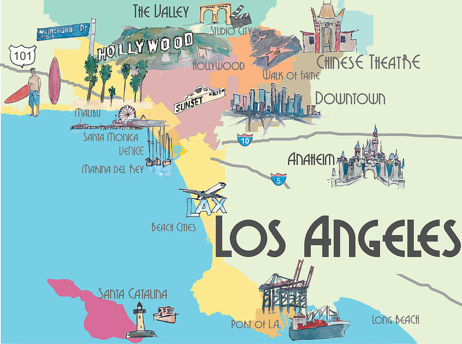 La California Map Los Angeles California   Map Of Greater L.a. With Highlights Mixed