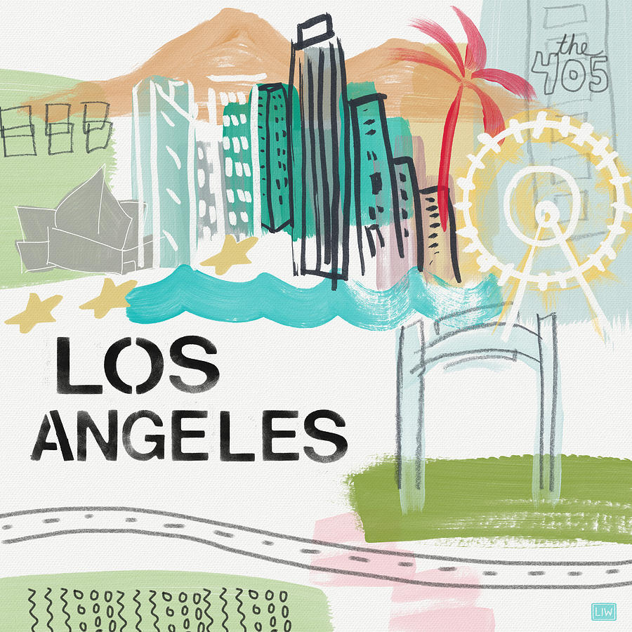 Los Angeles Painting - Los Angeles Cityscape- Art By Linda Woods by Linda Woods