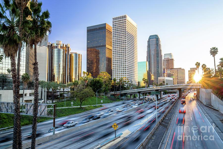 Los Angeles Photograph   Los Angeles Downtown Skyline Sunset By Syuji Honda