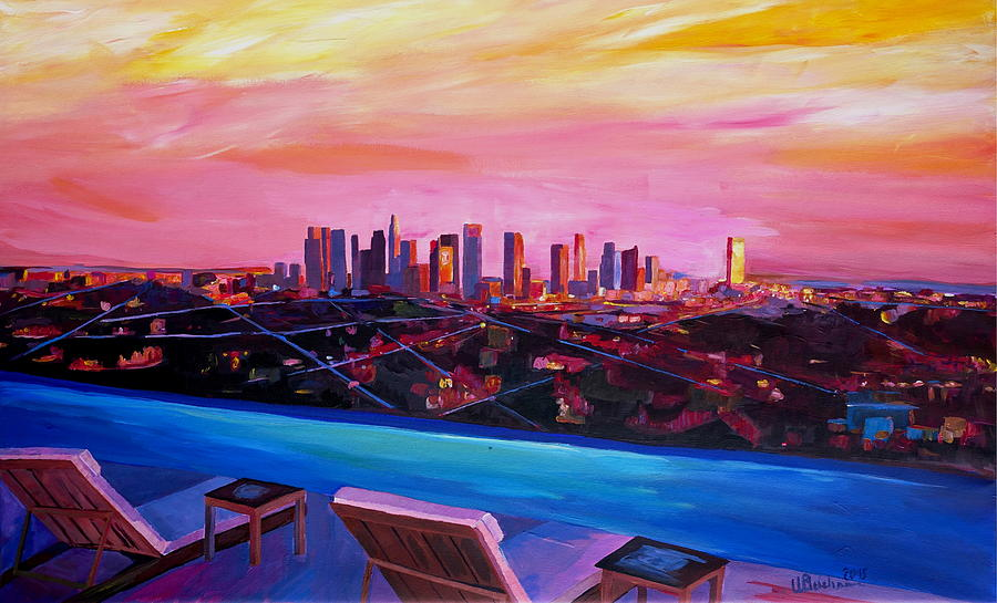 Los angeles infinity skyline with infinite view pool for Painting in los angeles