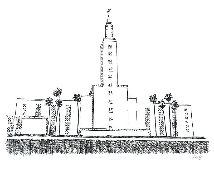 Los Angeles Lds Temple Ink Drawing Drawing by DSC Arts