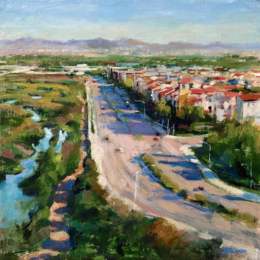 California Painting - Los Angeles - Playa Vista From South Bluff Trail Road by Peter Salwen