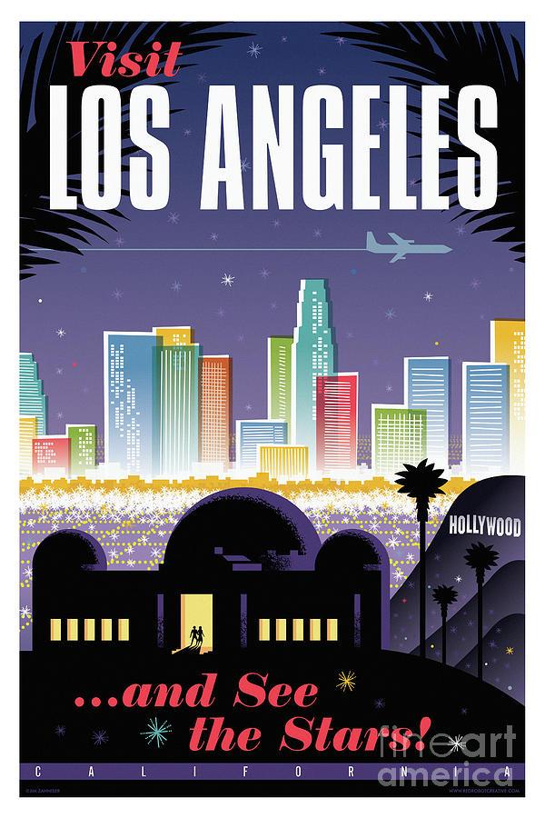 Mid Century Modern Digital Art - Los Angeles Poster - Retro Travel  by Jim Zahniser