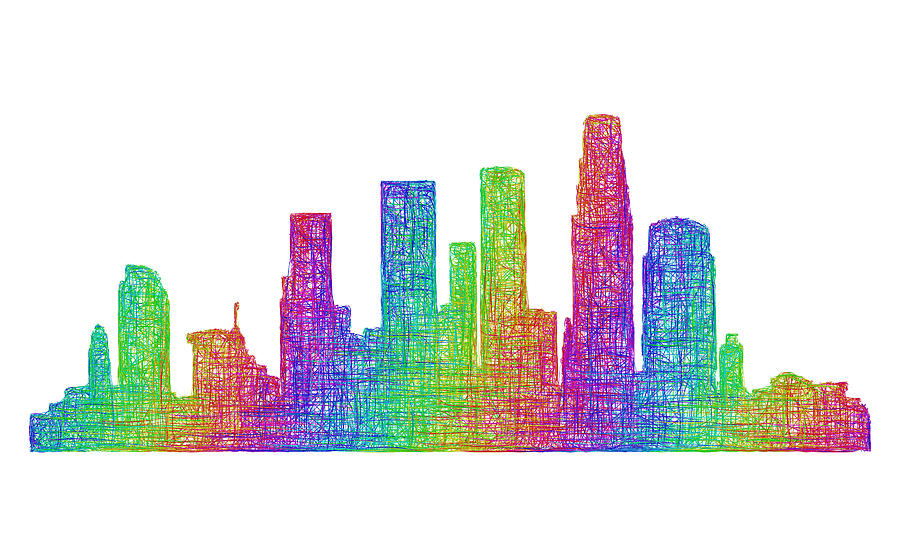 Los Angeles Digital Art - Los Angeles skyline by David Zydd