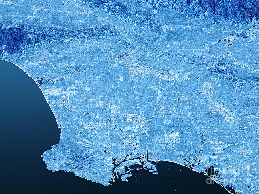 Los Angeles Topographic Map D Landscape View Blue Color Digital - Los angeles topographic map