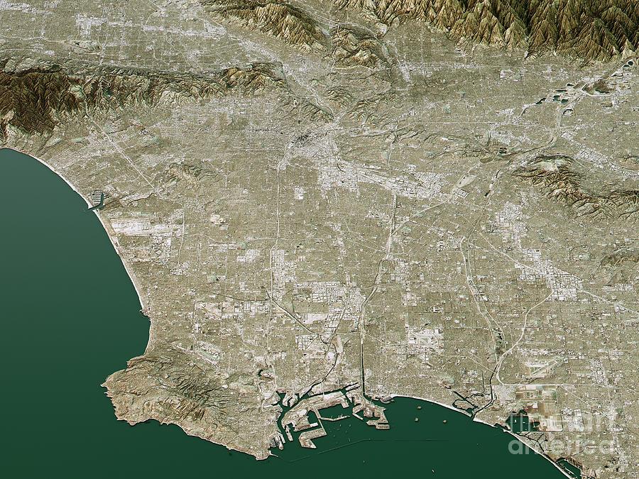 Los Angeles Topographic Map 3d Landscape View Natural Color