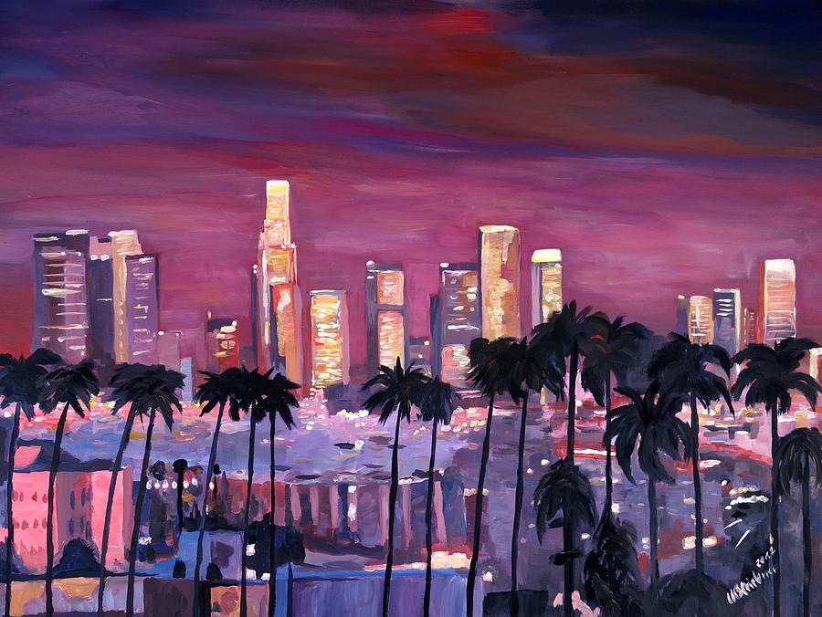 Los angeles with golden skyline painting by m bleichner for Painting in los angeles