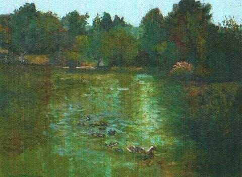 Los Medanos Duck Pond Painting by Martha Sterling Stroman