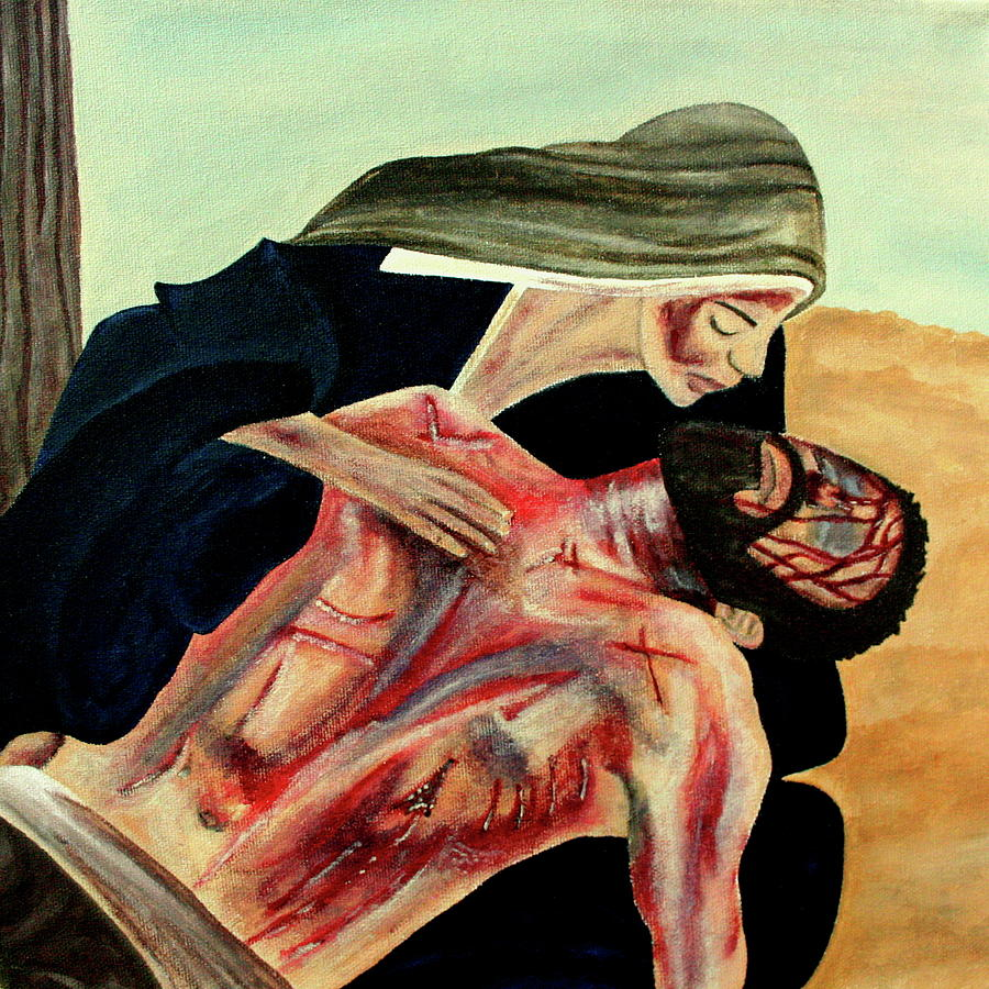 Pieta Painting - Losing A Child by Mikayla Ruth Koble