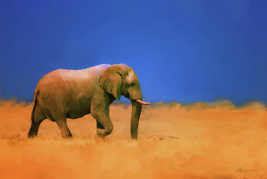 Elephant Painting - Lost Again by Michael Greenaway
