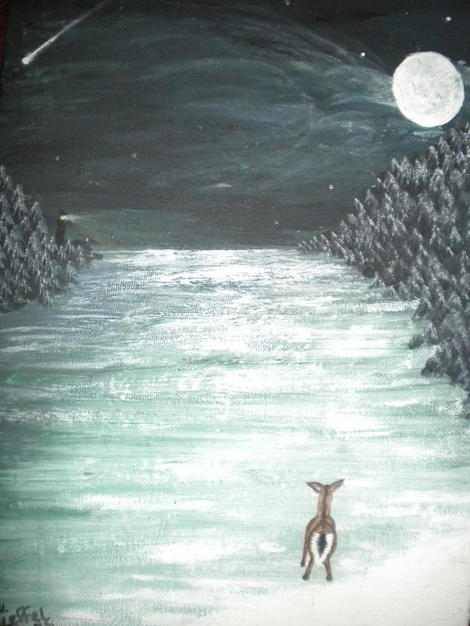 Deer Painting - Lost and Alone by Hollie Leffel