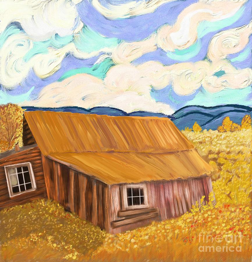Cabin Digital Art - Lost Cabin In The Mountains by Sydne Archambault