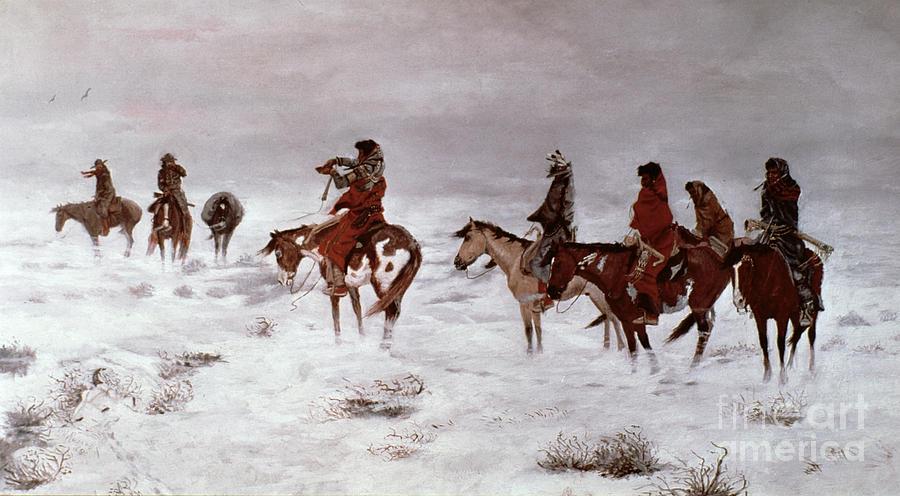 Charles Painting - lost In A Snow Storm - We Are Friends by Charles Marion Russell