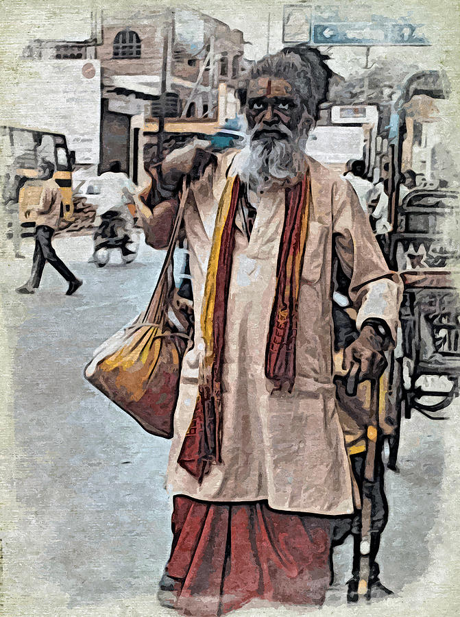Sadhu Digital Art - Lost In The City by Bliss Of Art