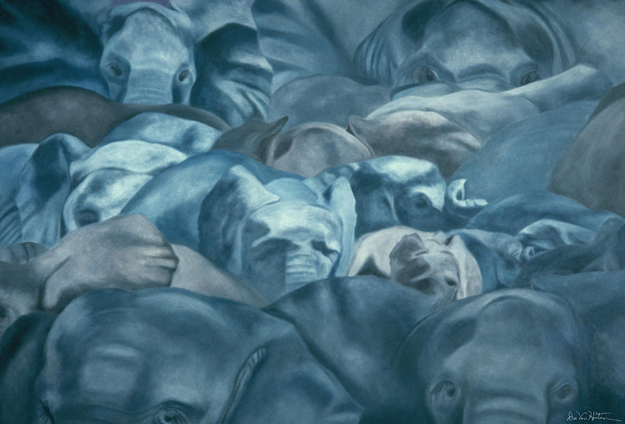 Elephants Lost In The Crowd by Dee Van Houten