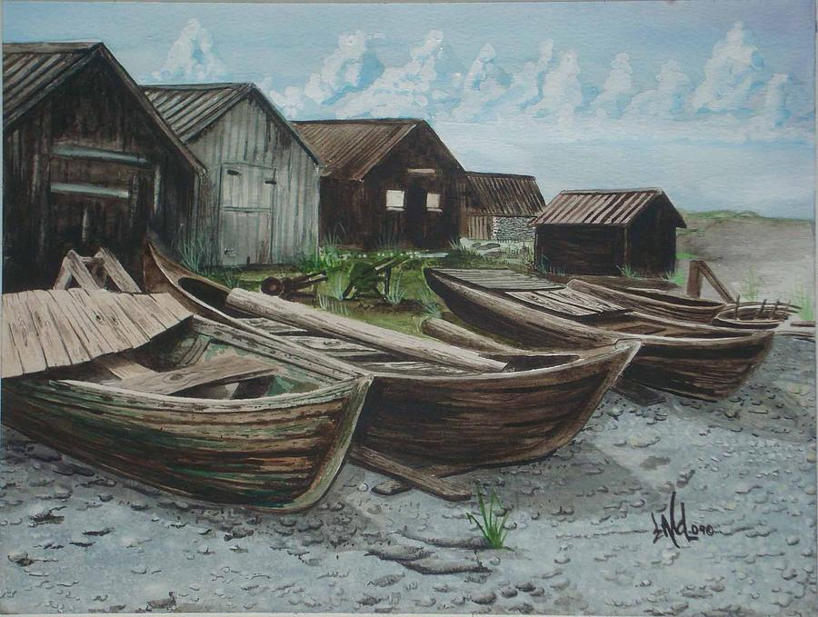 Boats Painting - Lost in Time by Jorge Luis  Iniguez