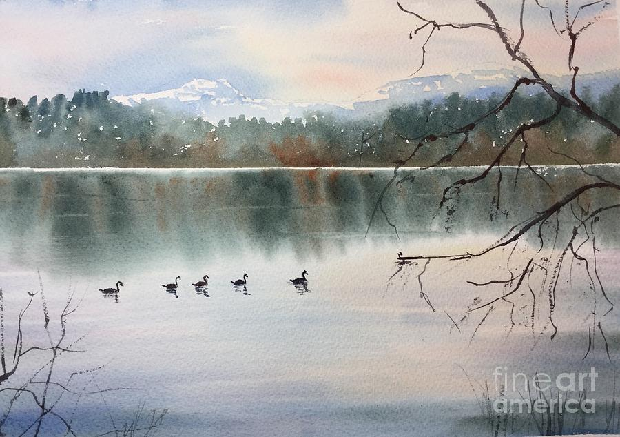 Lost Lagoon Evening Painting by Watercolor Meditations