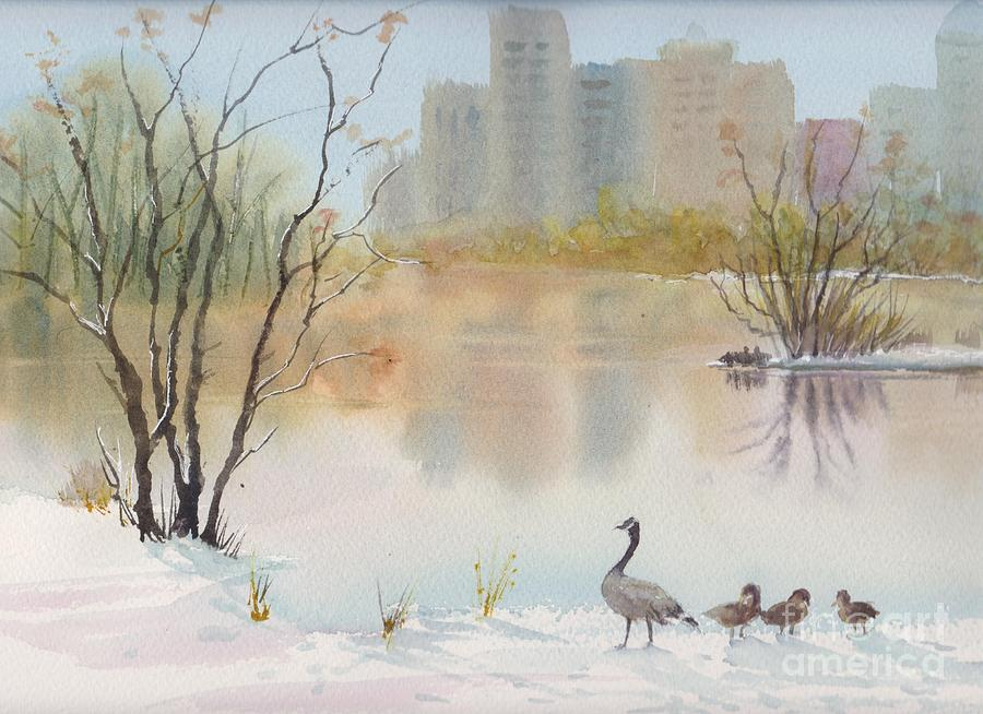 Lost Lagoon Painting - Lost Lagoon In Snow by Yohana Knobloch