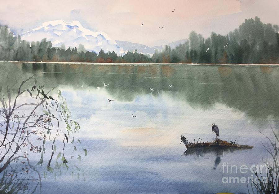 Lost Lagoon Painting - Lost Lagoon With Blue Heron by Yohana Knobloch