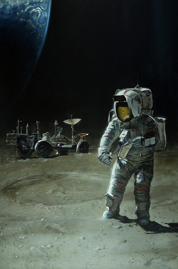 Nasa Painting - Lost Moon by Simon Kregar
