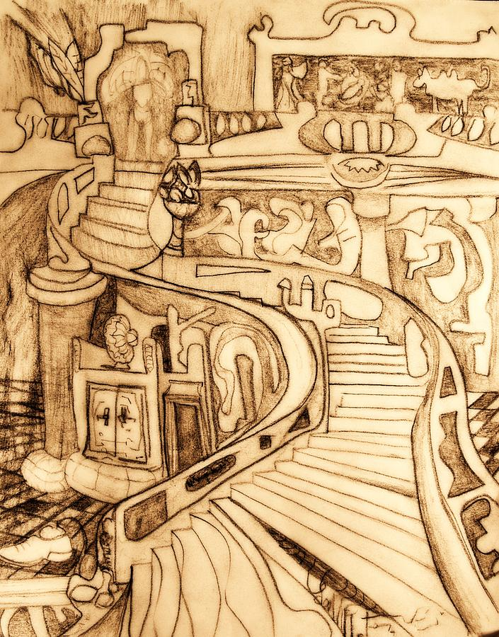 Surreal Drawing - Lost Shoe by Lee M Plate