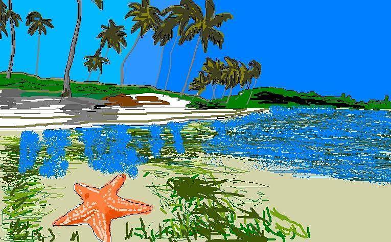 Ocean Life Digital Art - Lost Starfish On A Beach by Robert Rodriguez