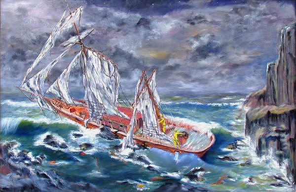 Sailing Ship Painting - Lost To The Storm by Thomas Restifo
