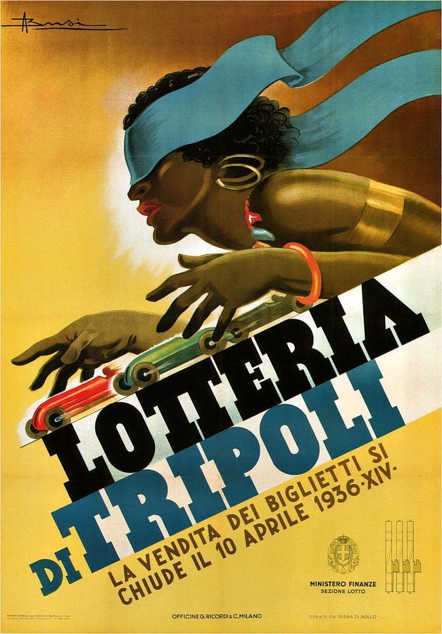 Lotteria Di Tripoli - Vintage Italian Advertising Poster For Lottery Mixed Media