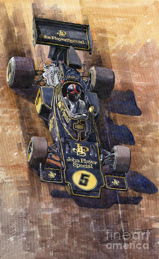 Watercolour Painting - Lotus 72 Canadian Gp 1972 Emerson Fittipaldi  by Yuriy  Shevchuk