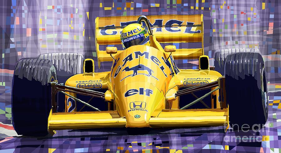 Automotive Digital Art - Lotus 99t Spa 1987 Ayrton Senna by Yuriy  Shevchuk