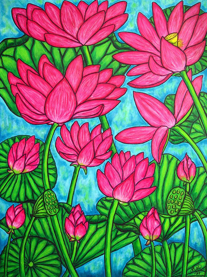 Pink Painting - Lotus Bliss by Lisa  Lorenz