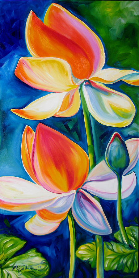 Lotus Painting - Lotus Blossoming by Marcia Baldwin