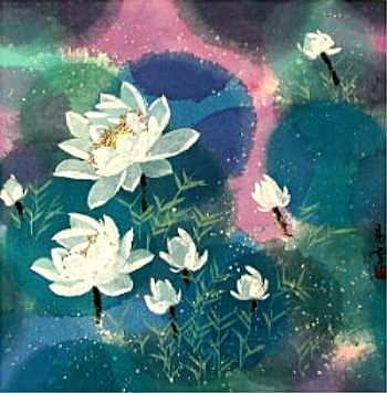 Lotus Blossoms II Painting by Henry Shih