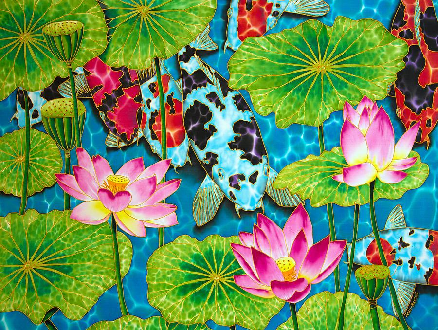 Lotus flower and koi fish painting by daniel jean baptiste for Koi fish pond lotus
