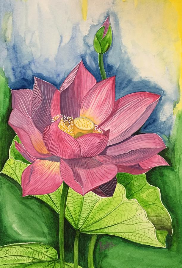 Lotus Flower In Water Color Painting By Pushpa Sharma