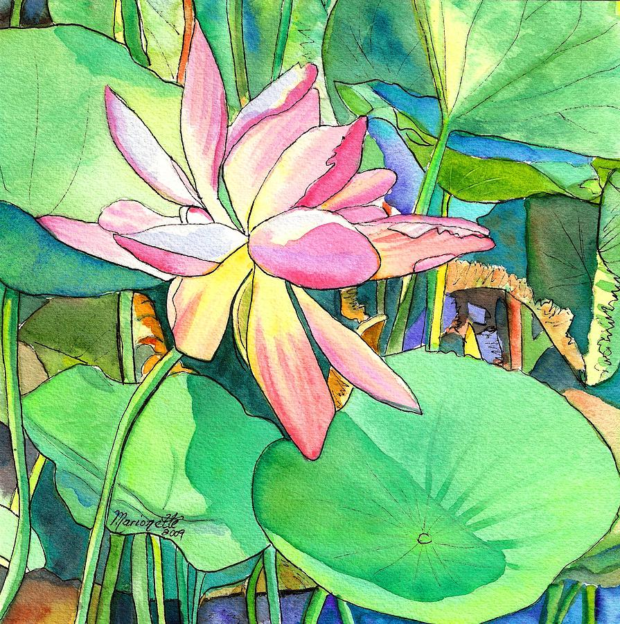 Lotus Flower Painting By Marionette Taboniar