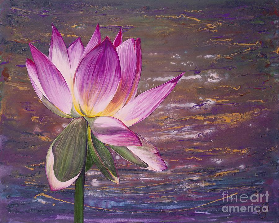 Lotus Flower Painting By Patty Vicknair