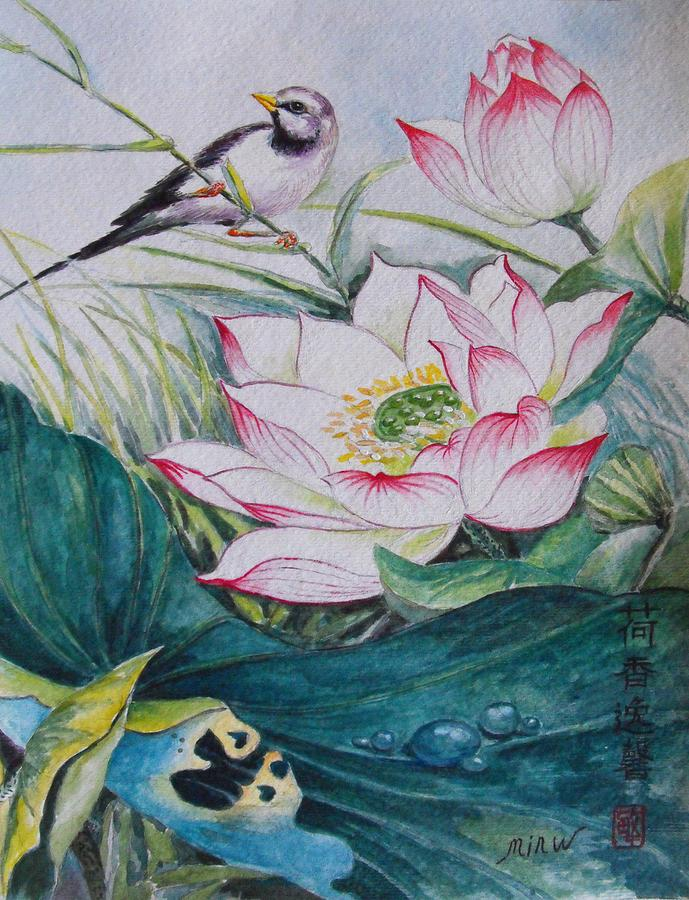 Lotus Flower Pond Painting By Min Wang