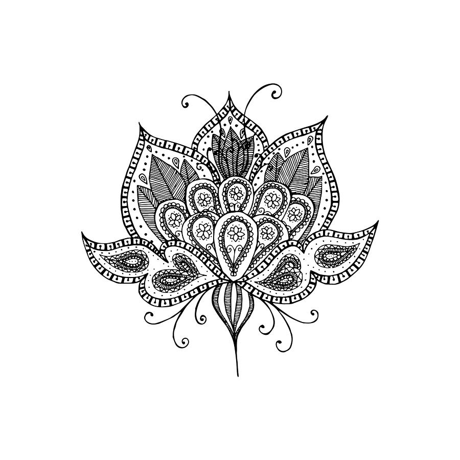 Lotus Flower Drawing By Tati Alecrim