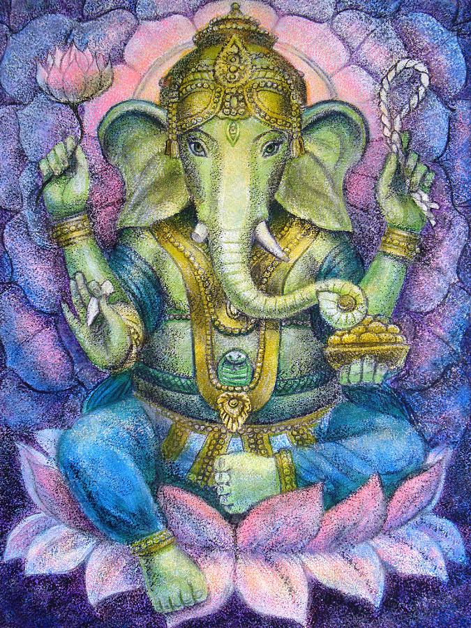 Lord Ganesha Painting - Lotus Ganesha by Sue Halstenberg