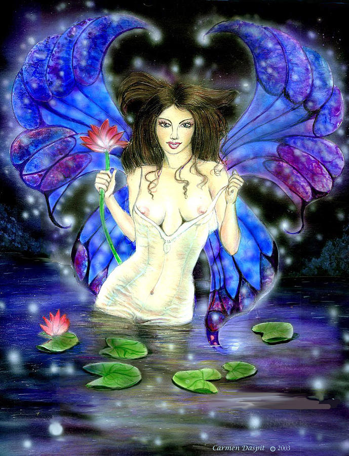 Lotus Goddess Painting - Lotus Goddess Fairy by Carmen Daspit