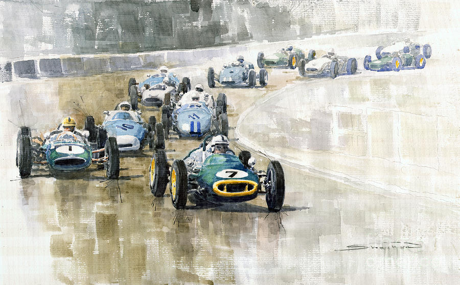 Automotive Painting - 1961 Germany Gp  #7 Lotus Climax Stirling Moss Winner  by Yuriy Shevchuk