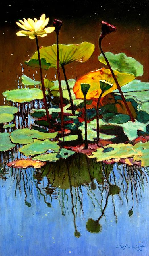Lotus Flower Painting - Lotus In July by John Lautermilch