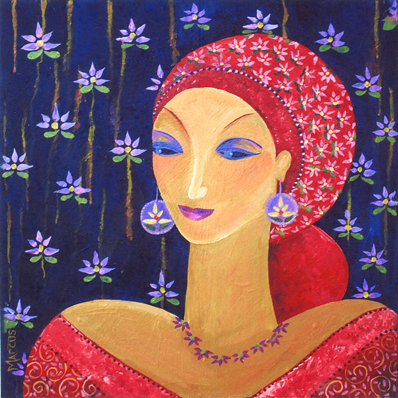 Lotus Lady 1 Painting by Leslie Marcus