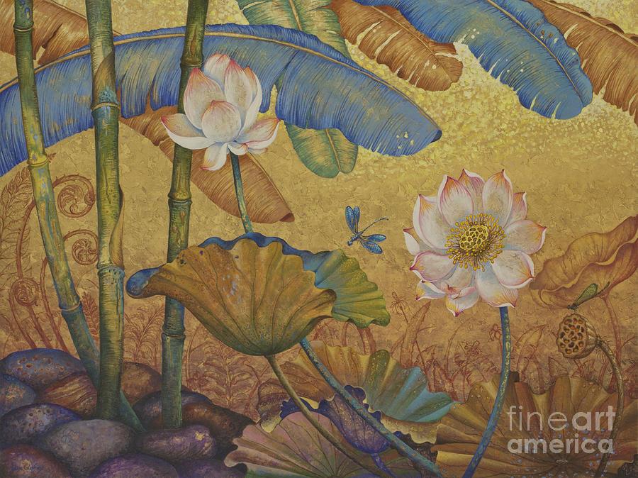 Lotus Painting - Lotus land by Yuliya Glavnaya