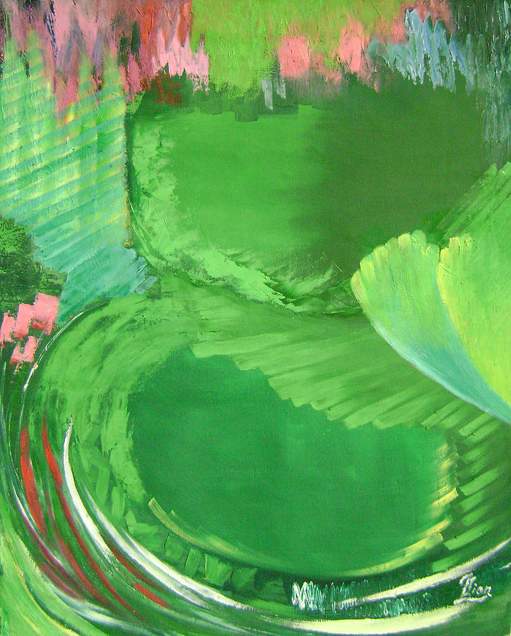 Abstract Painting - Lotus Leaves by Lian Zhen